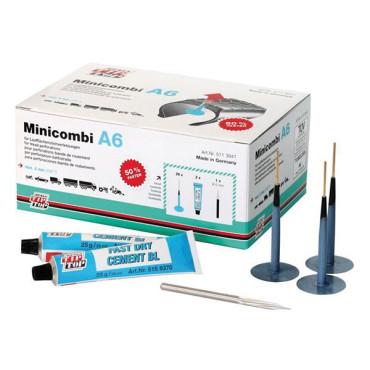 Tip Top - Kit Réparation Pneu Atelier - Champignon - 20 Minicombi A6 + 1 Fraise Ø6mm + 2 Tubes de Colle 25g